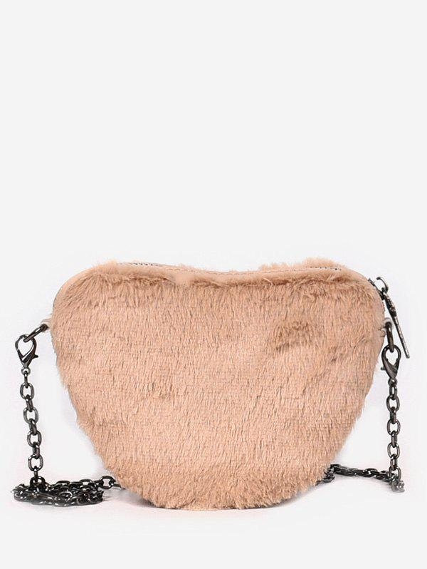 New Faux Fur Heart Shape Chain Crossbody Bag
