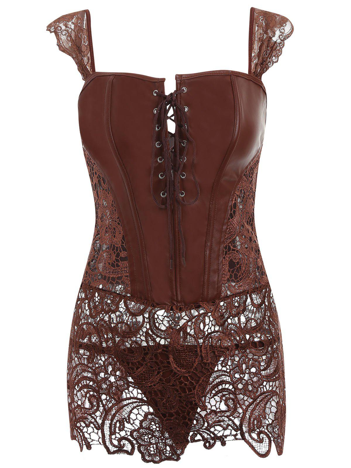 Discount Lace Trim Open Back Sleeveless Corset