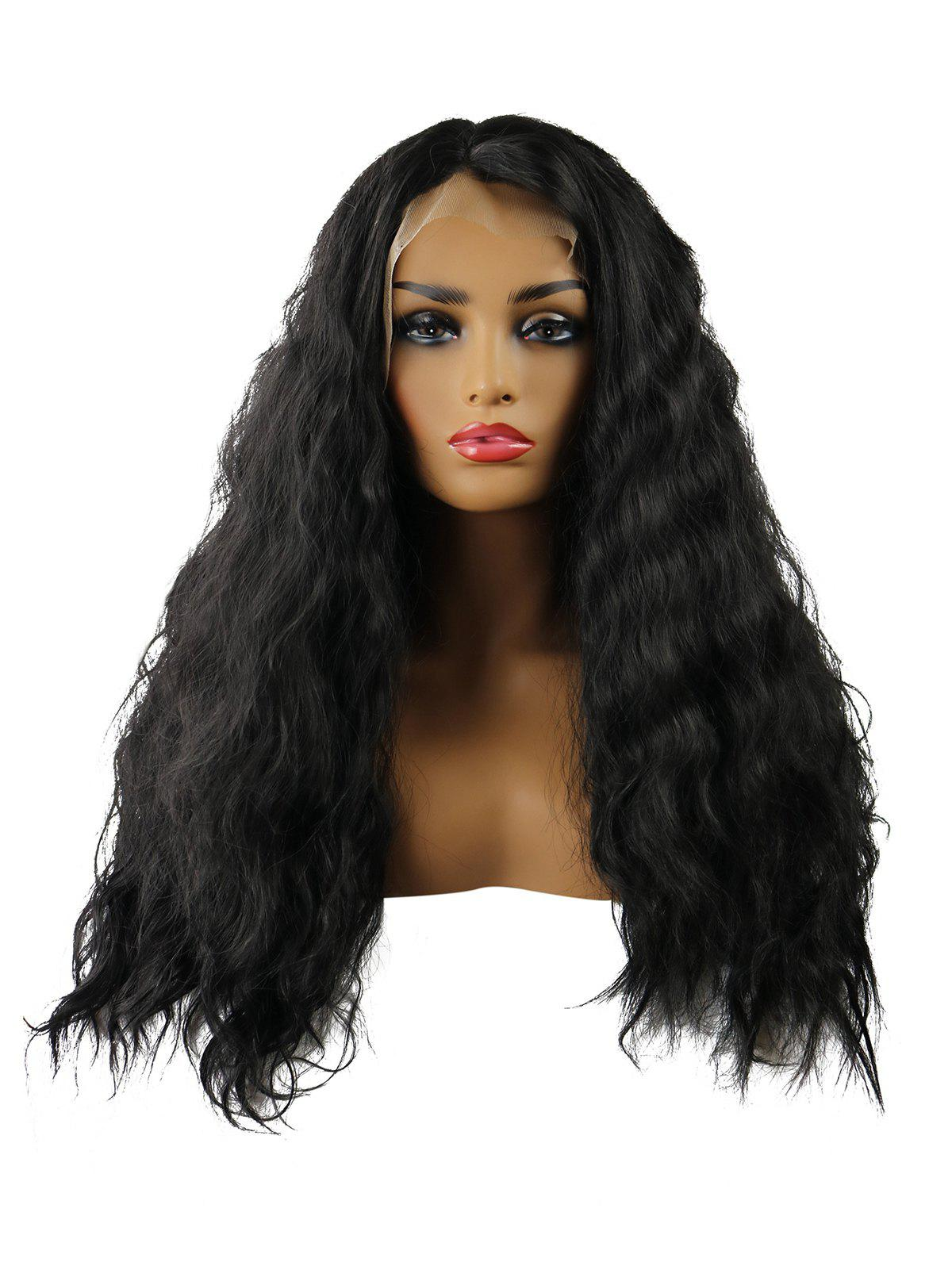 New Long Center Parting Natural Wavy Synthetic Lace Front Wig