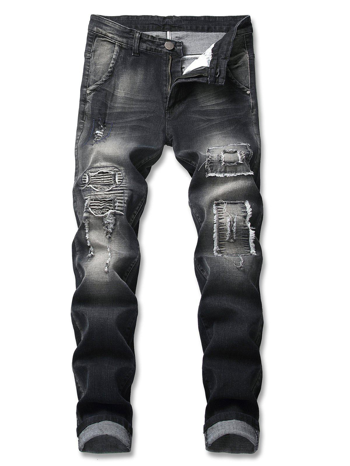 Affordable Patched Frayed Embellished Zip Fly Jeans