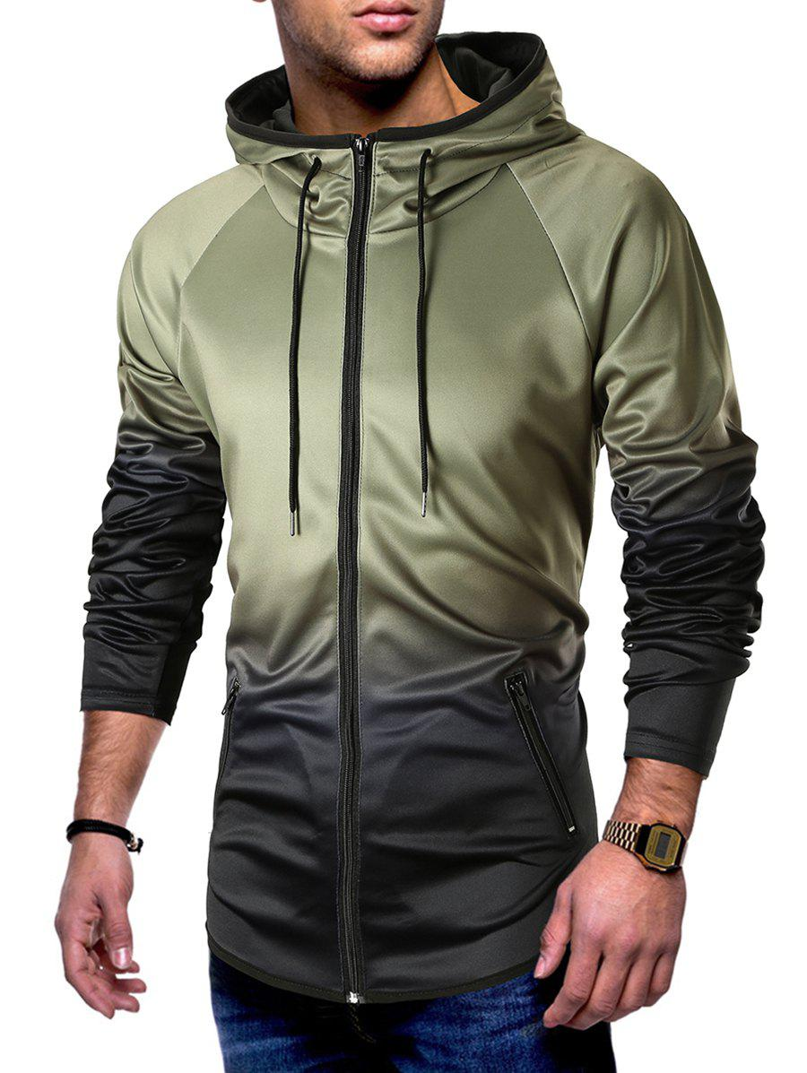 Hot Raglan Sleeve Zip Pockets Drawstring Hoodie