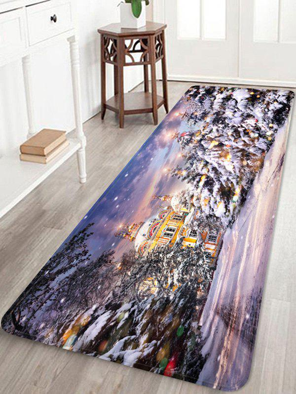 Latest Christmas House Pattern Anti-skid Water Absorption Area Rug