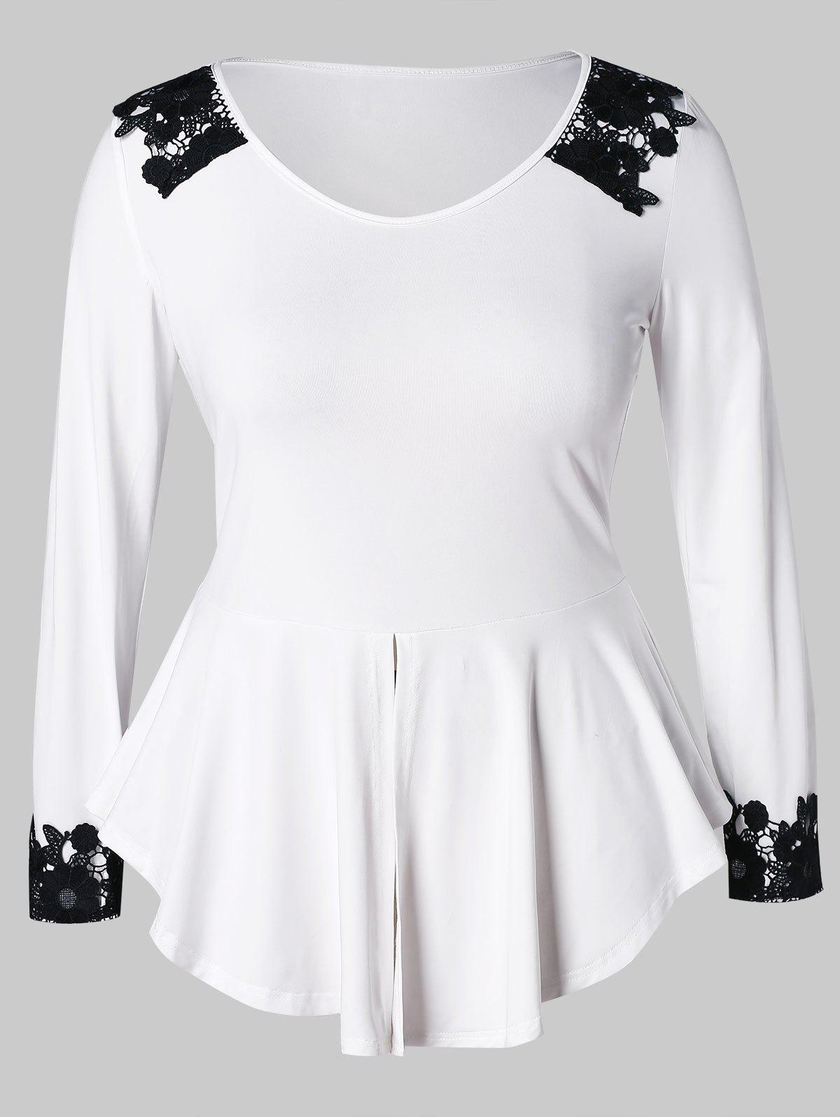 New Plus Size Lace Panel Peplum Tee