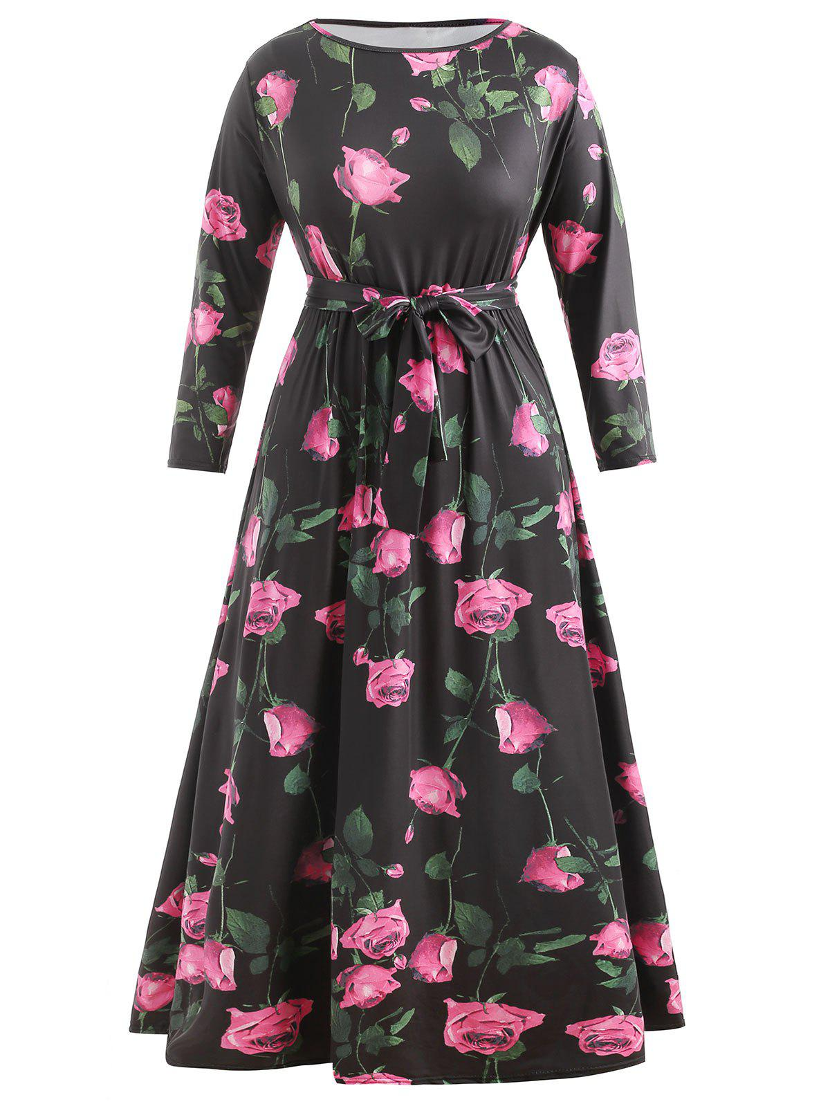 Cheap Plus Size High Waisted Floral Long Dress