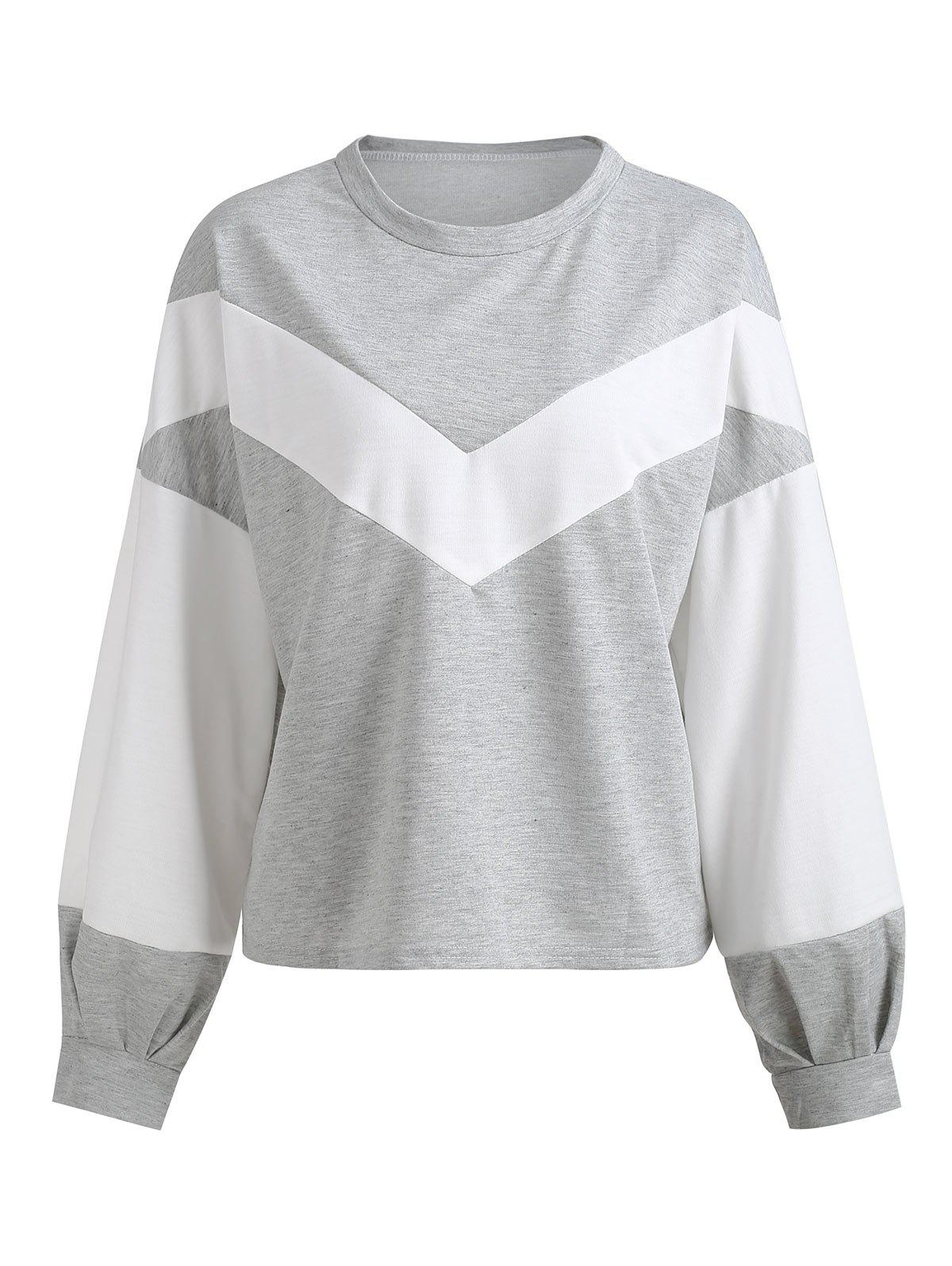 Fashion Chevron Front Blouson Sleeve Sweatshirt