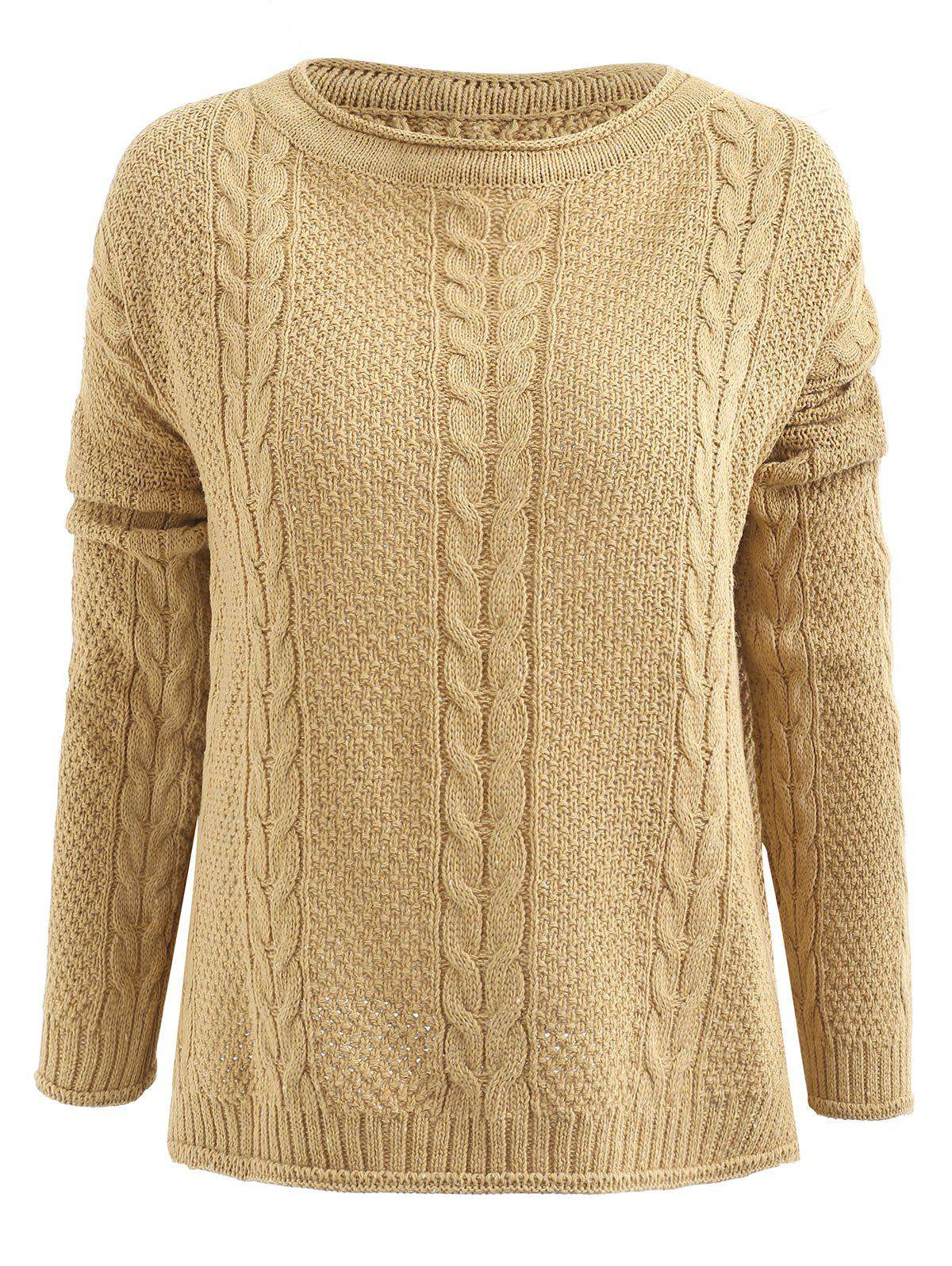 d05e1a3934 Side Slit Cable Knit Pullover Sweater - One Size