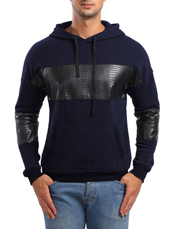 Latest PU Leather Spliced Pullover Hoodie