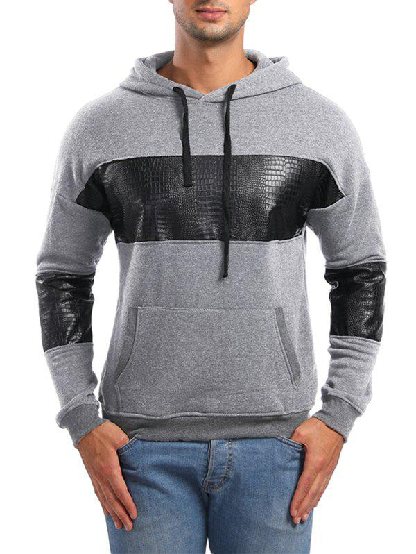 Pull-over Sweat à Capuche Rayé en Cuir PU Gris Clair M