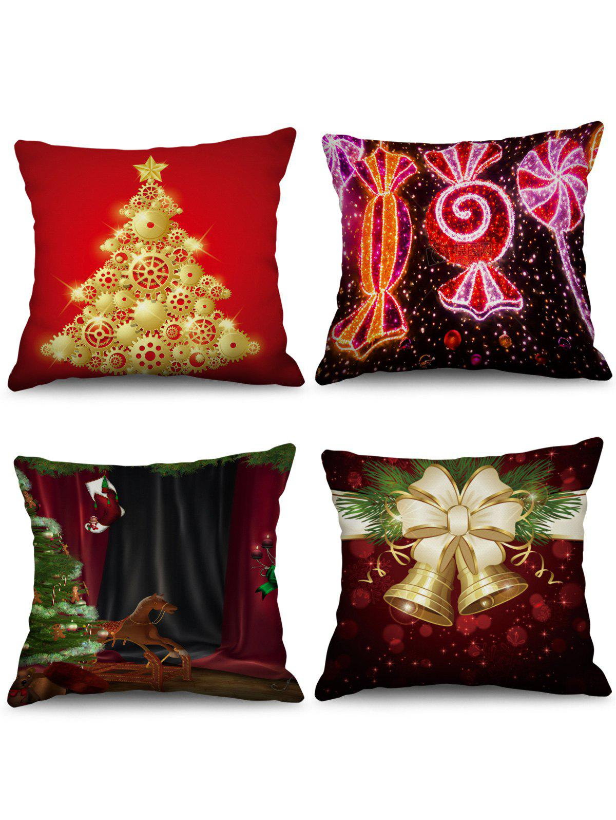 Store 4PCS Christmas Tree Bells Printed Pillowcases
