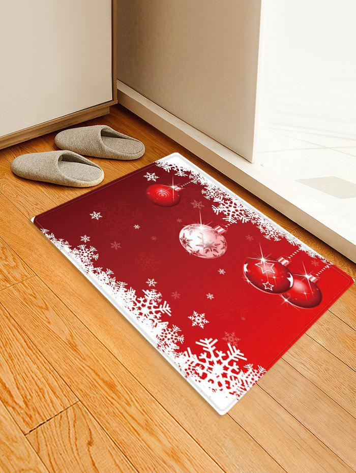 Affordable Christmas Balls Snowflake Pattern Anti-skid Water Absorption Area Rug