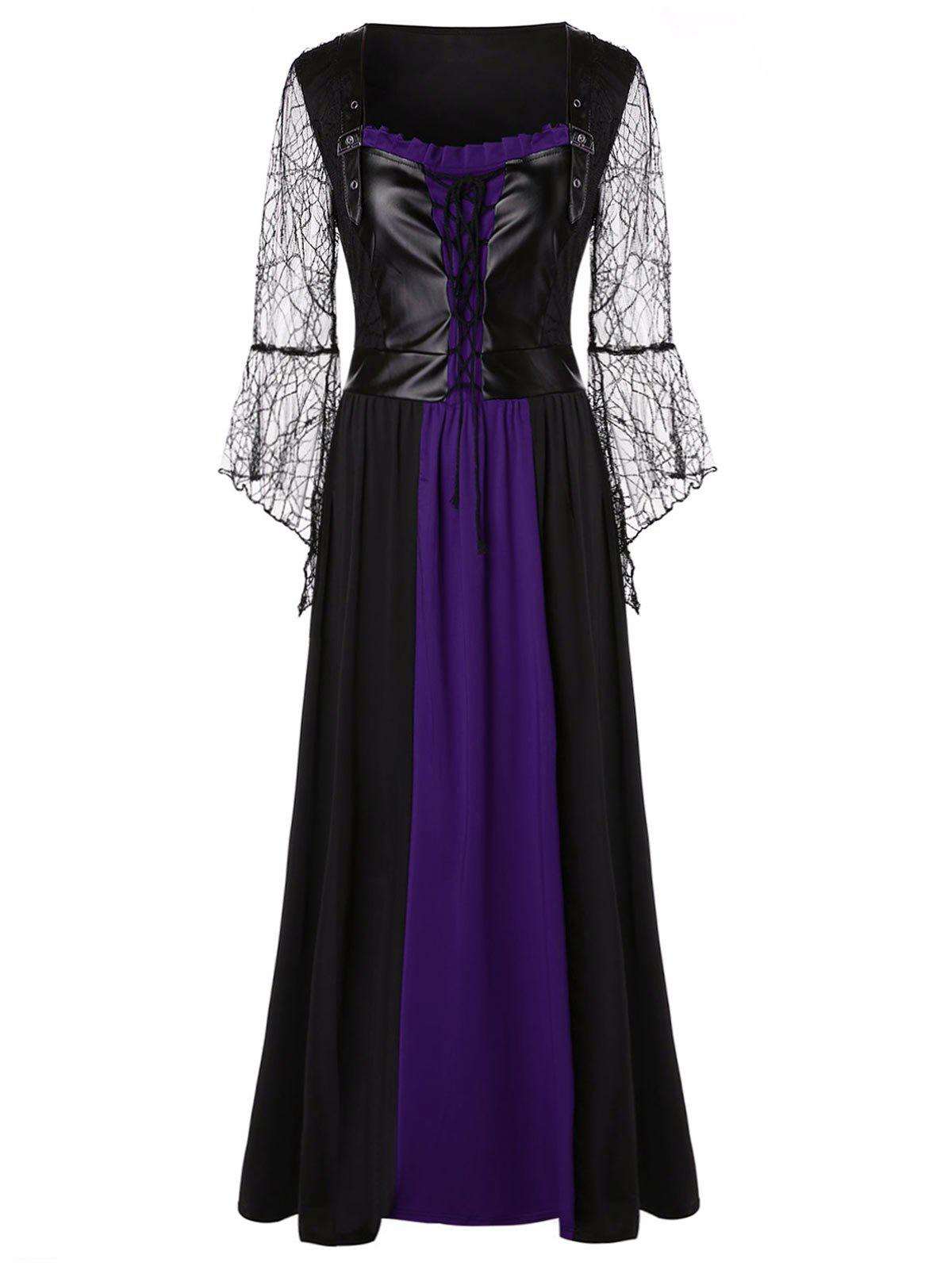 Cheap Plus Size Lace Up Maxi Halloween Dress