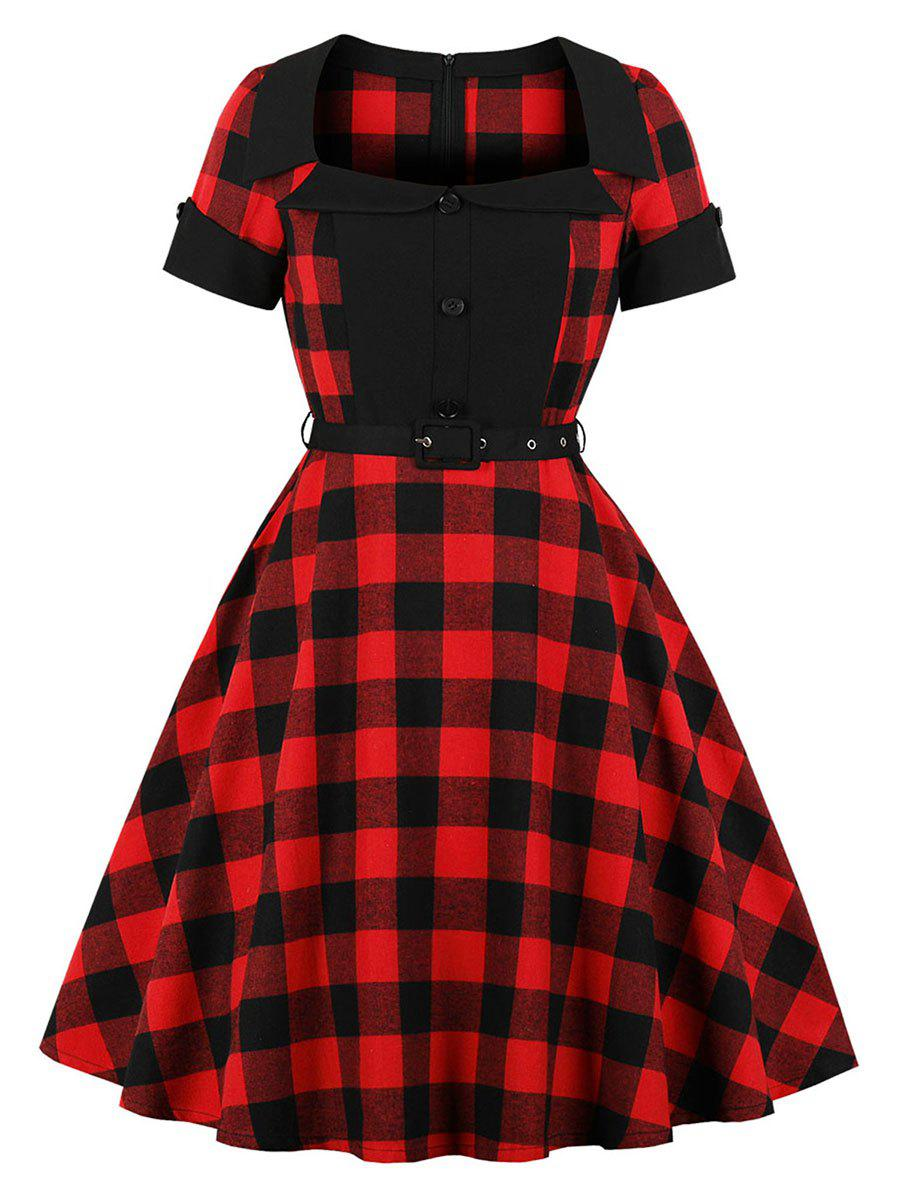 f310b87cc69 51% OFF   2018 Vintage Tartan Belted Pin Up Dress In Multi M ...