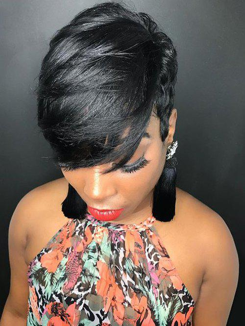Discount Inclined Fringe Short Layer Straight Human Hair Wig