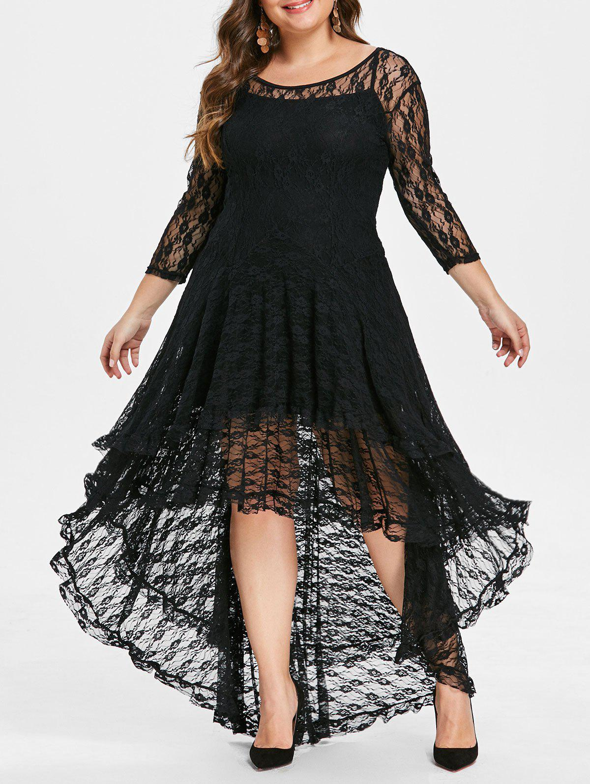 Outfits Plus Size Asymmetric Lace Dress with Cami Dress