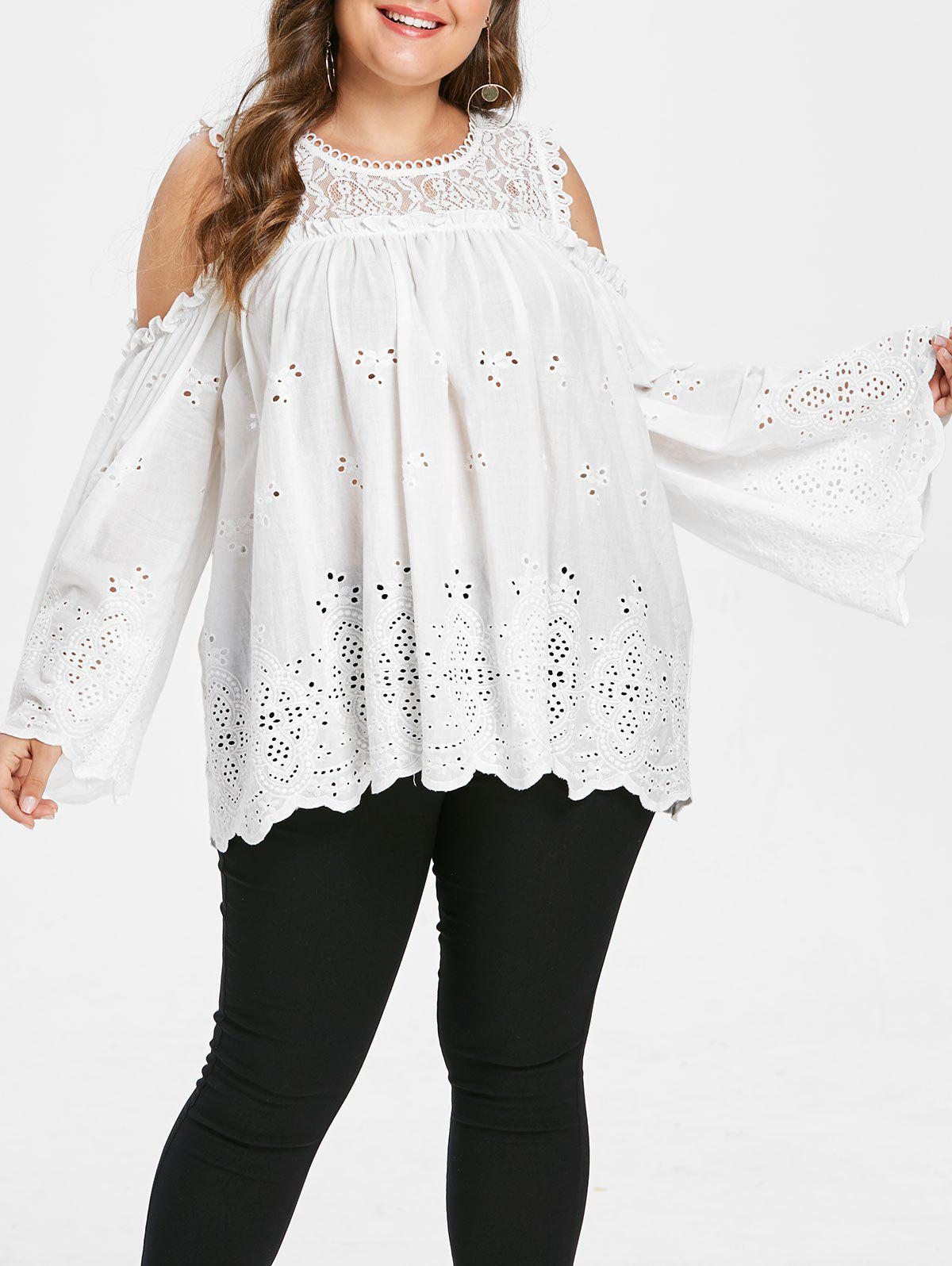 Buy Plus Size Openwork Ruffles Lace Panel Blouse