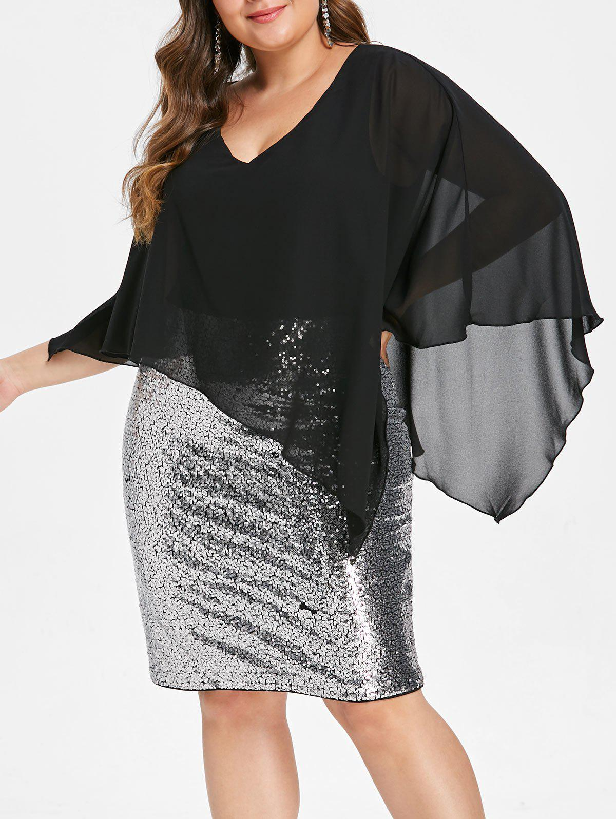 Discount Plus Size Overlay Sequin Bodycon Party Dress