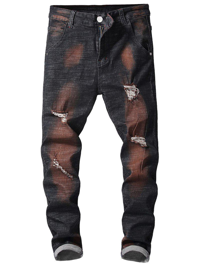 Shop Zipper Fly Retro Paint Ripped Jeans