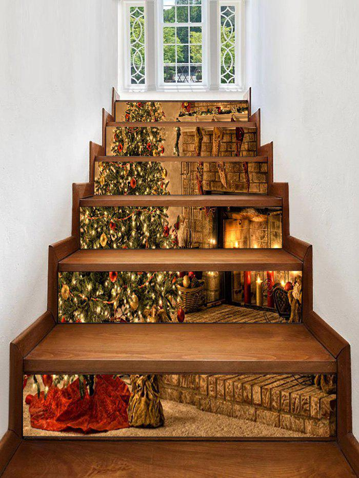 Latest Christmas Tree Fireplace Pattern Decorative Stair Stickers