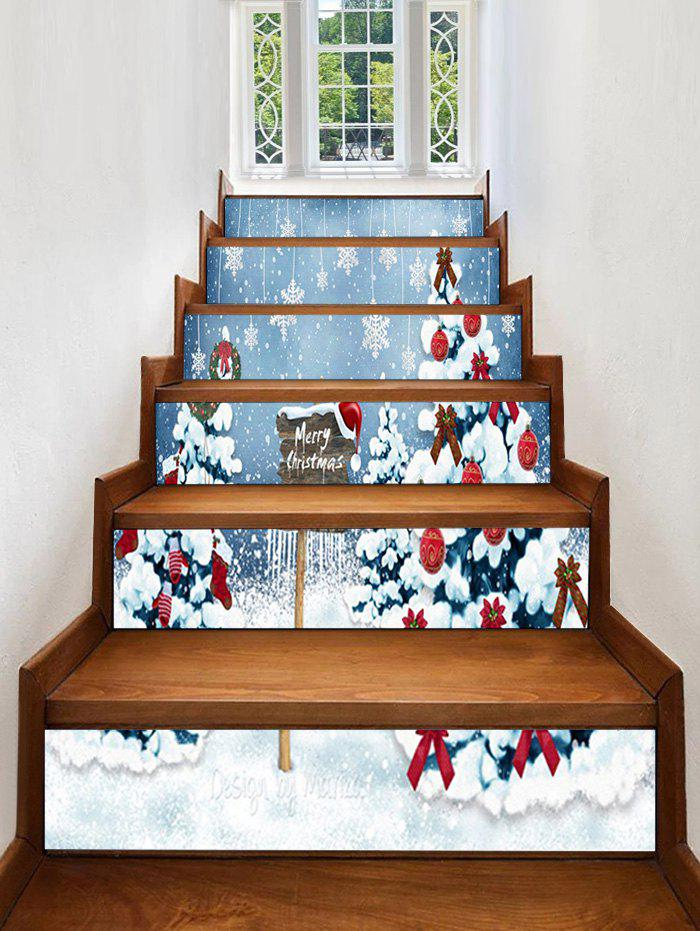 New Christmas Tree Snowflake Pattern Decorative Stair Stickers