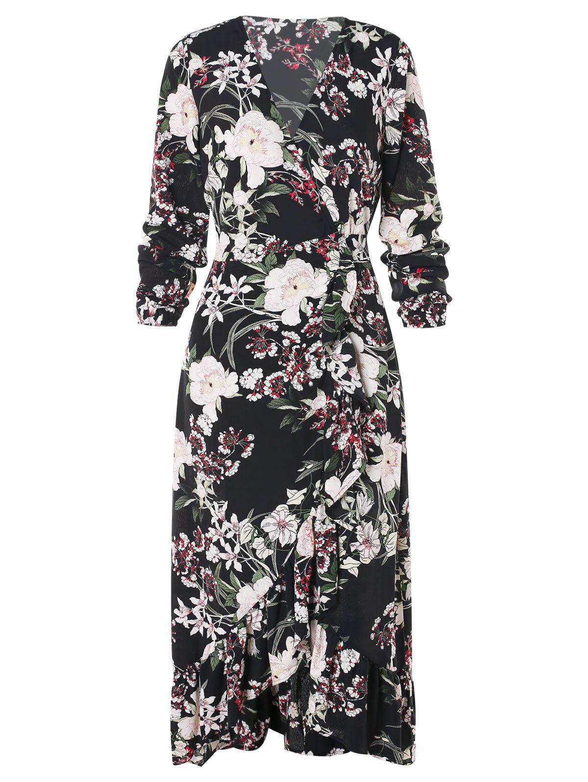 Outfit Floral Print Ruffled Trim Maxi Dress
