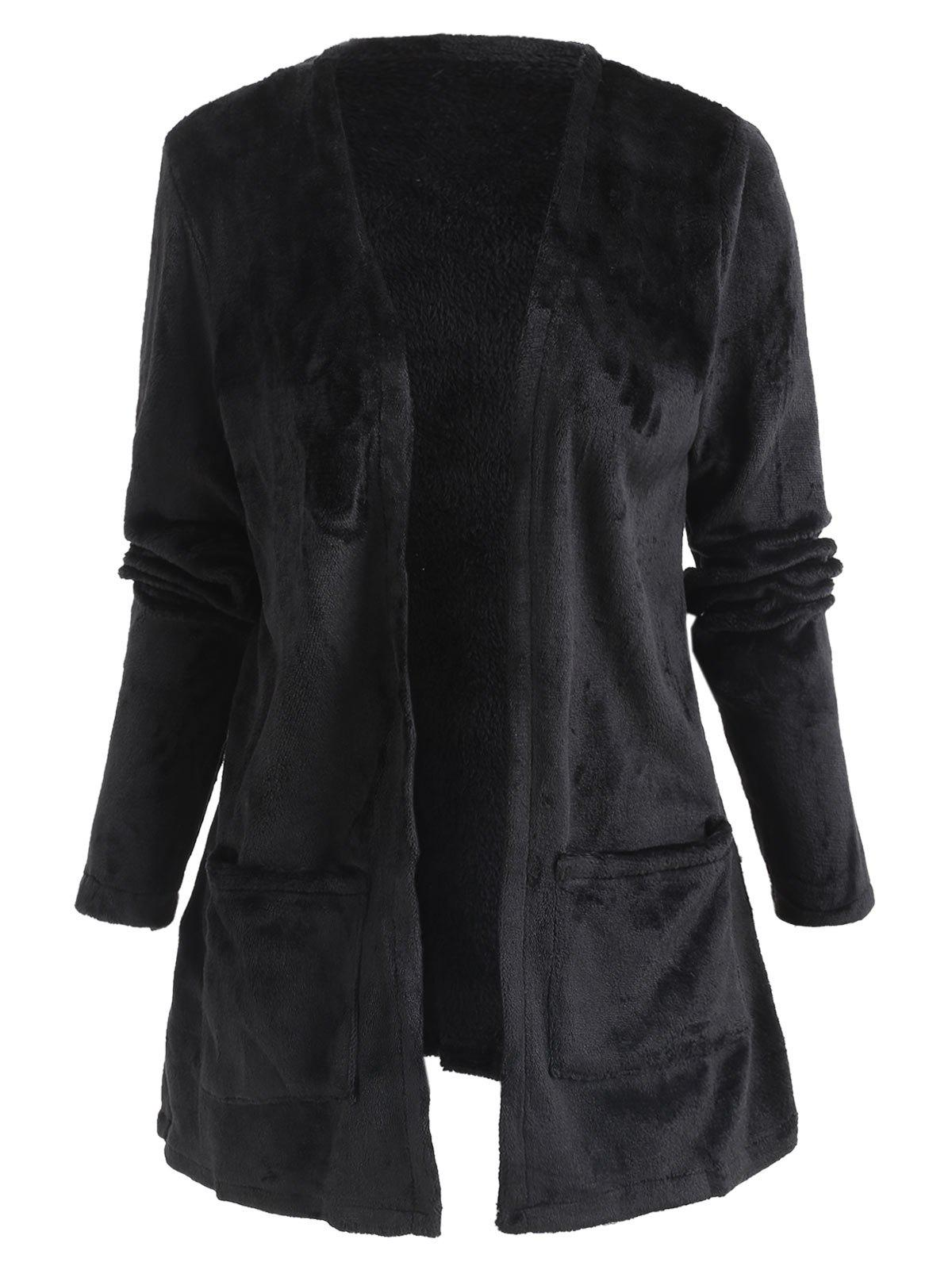 Trendy Collarless Pocket Tunic Fuzzy Coat