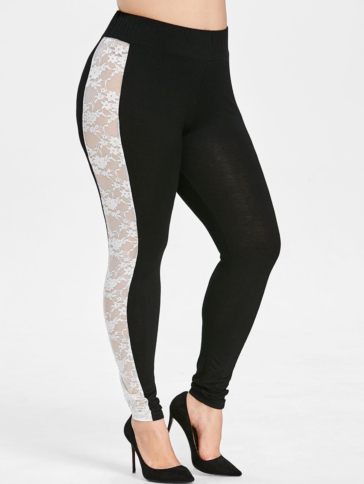Shop Plus Size Lace Insert High Rise Leggings