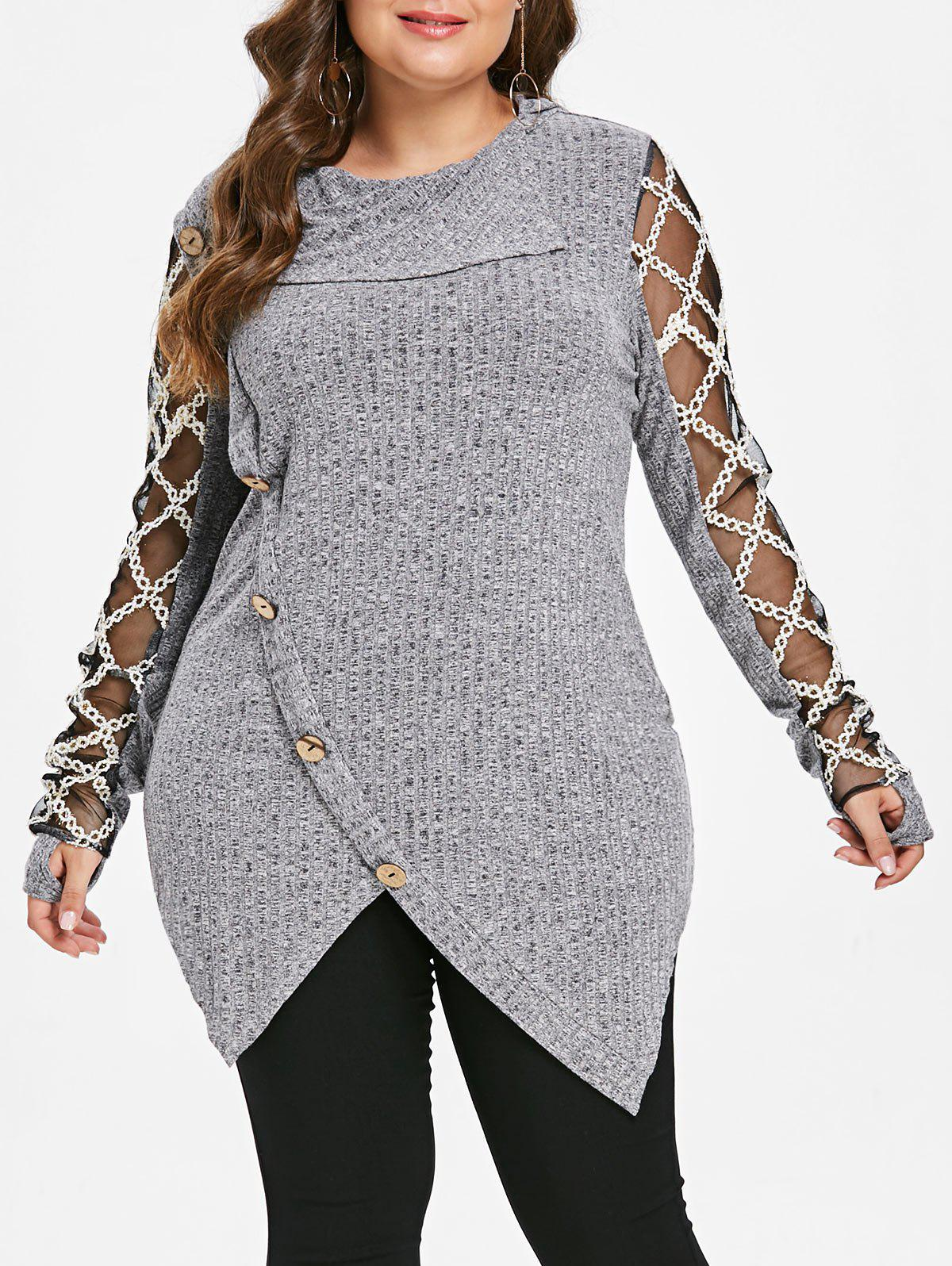 Best Plus Size Mesh Panel Ribbed Marled Knit Top
