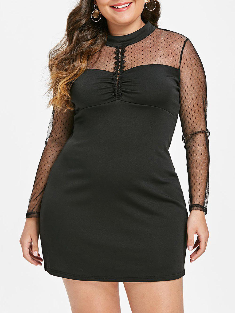 Fashion Mesh Panel Plus Size Mock Neck Bodycon Dress