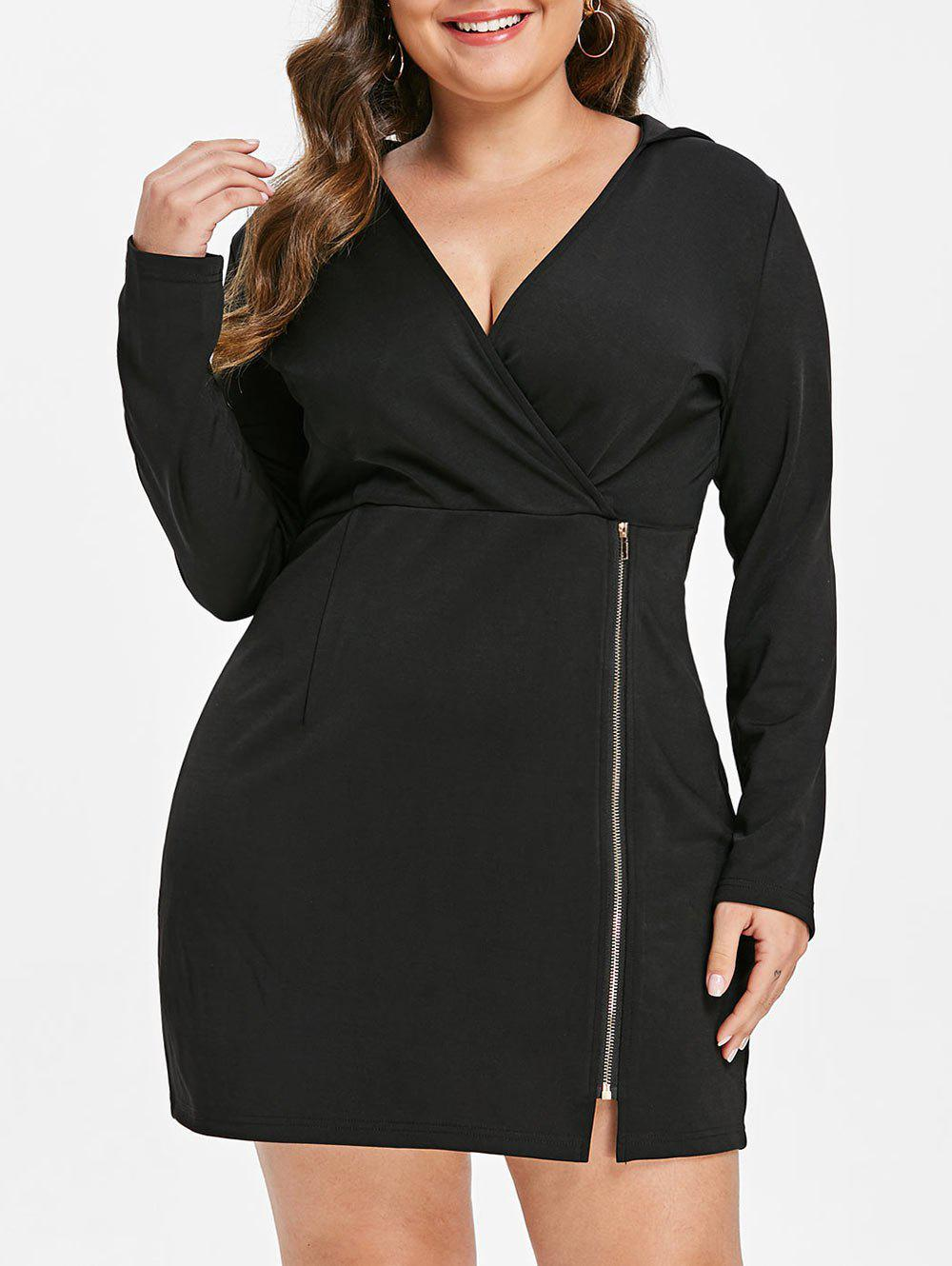 Discount Zip Embellished Plus Size Hooded Bodycon Dress