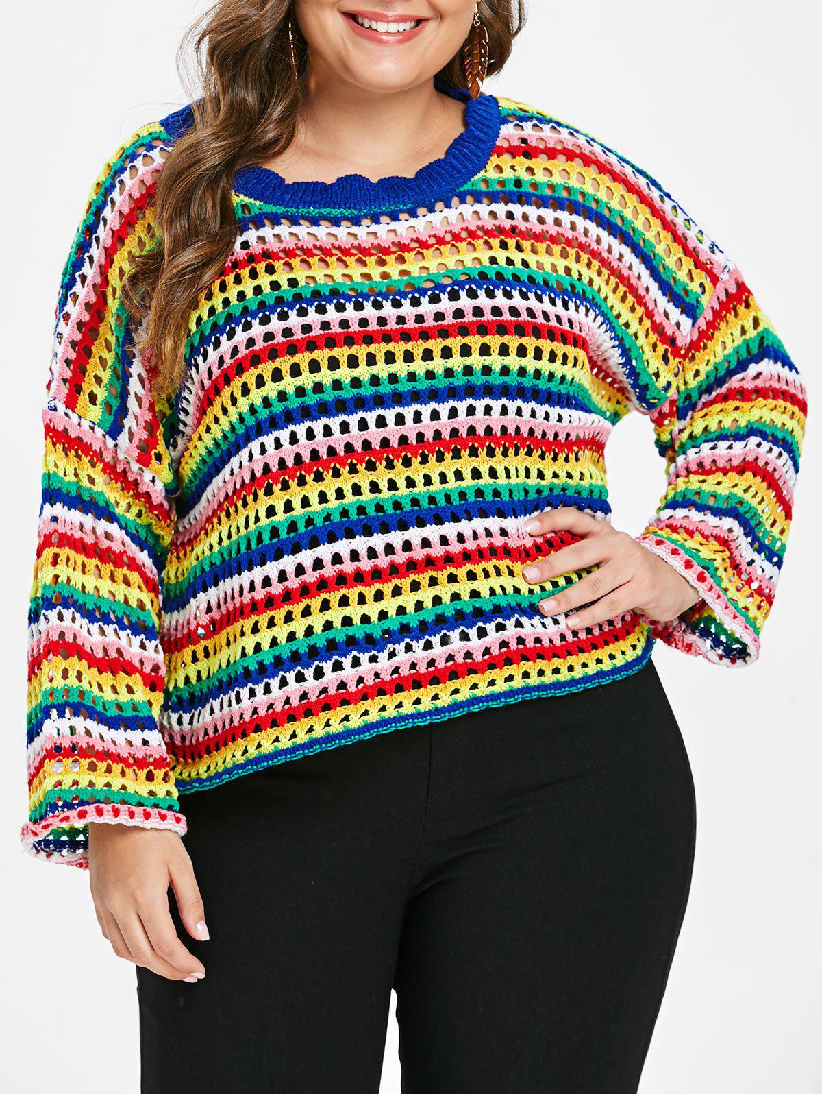 Latest Plus Size Rainbow Hollow Out Sweater