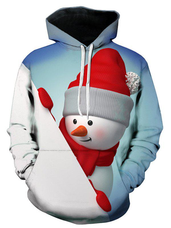 Best 3D Christmas Snowman Printed Contract Color Hoodie