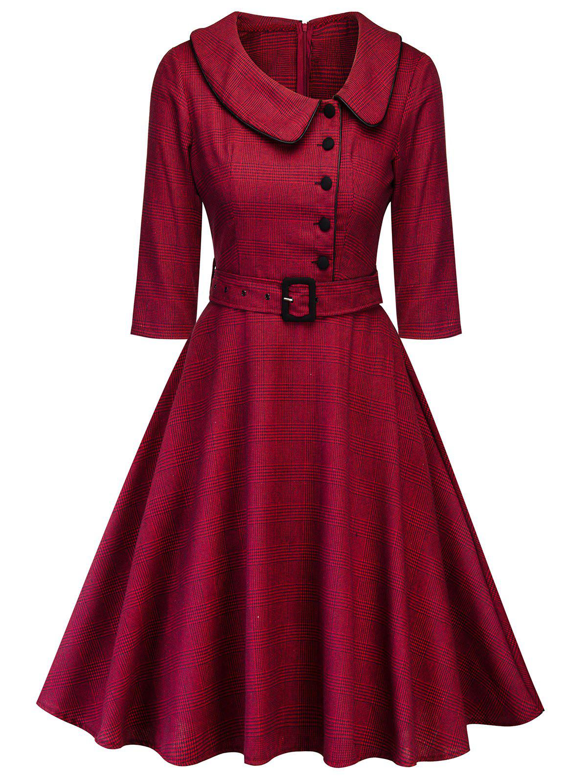 36% OFF] Plaid Peter Pan Collar Vintage Dress | Rosegal