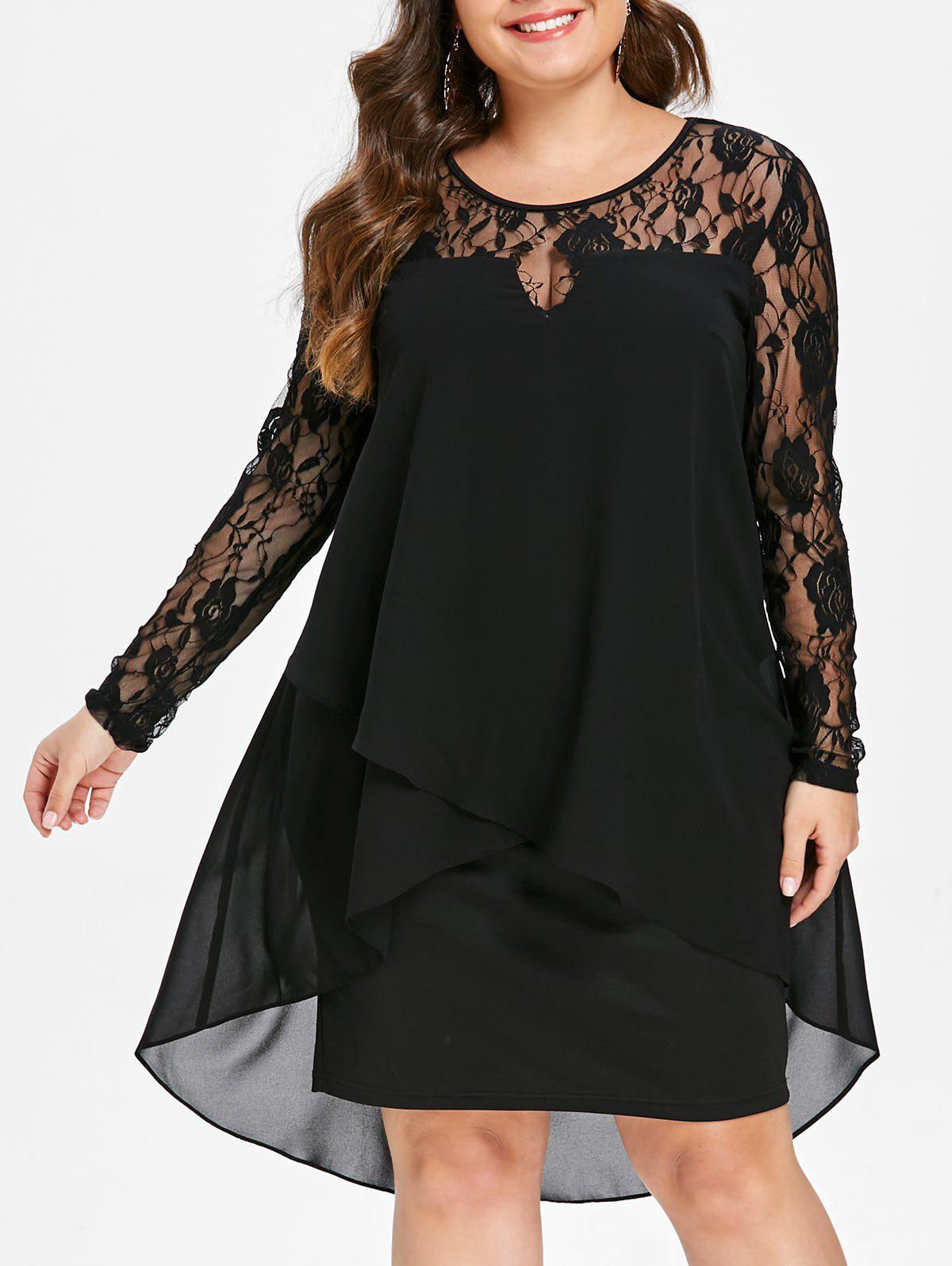 Plus Size High Low Hem Sheer Lace Sleeve Dress