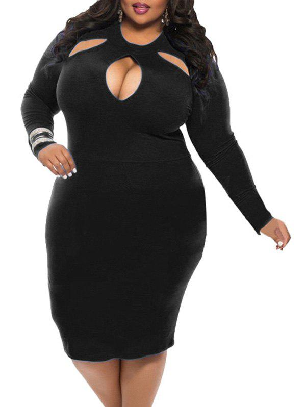 Hot Keyhole Neck Plus Size Bodycon Dress