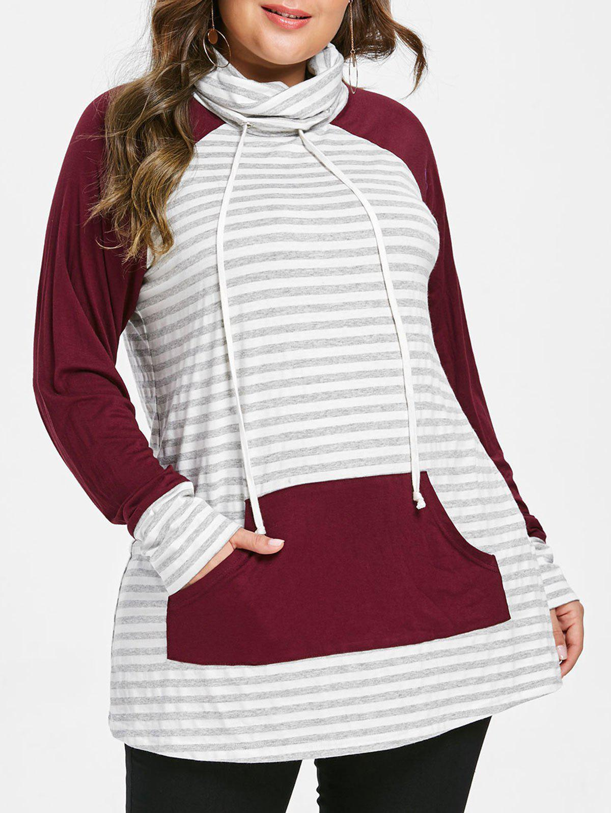 Online Cowl Neck Striped Plus Size Hoodie