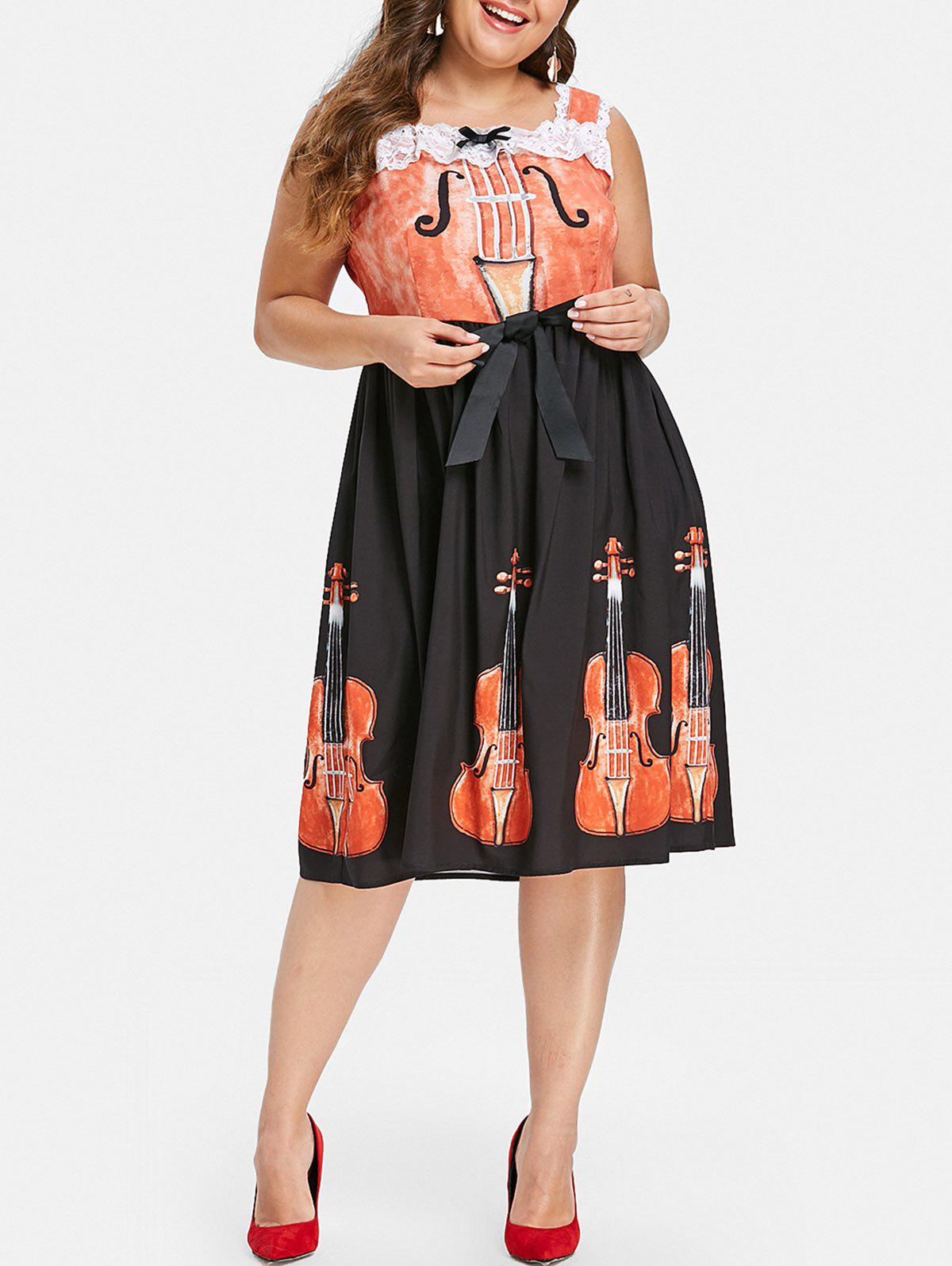 Hot Halloween Plus Size Violin Print Flare Dress