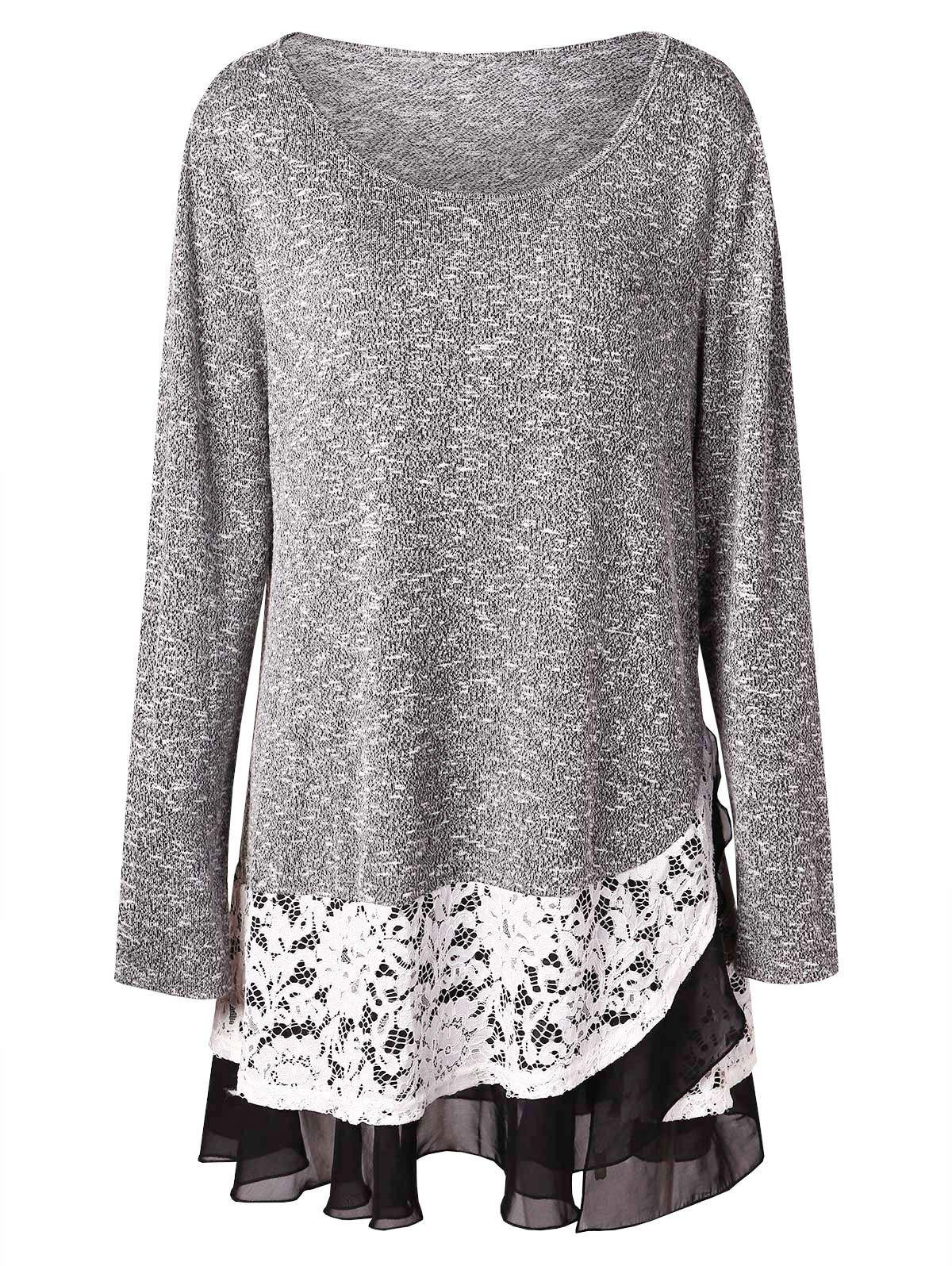 315ccd0dbf9d8 Affordable Plus Size Lace Insert Layered Tunic Knitwear