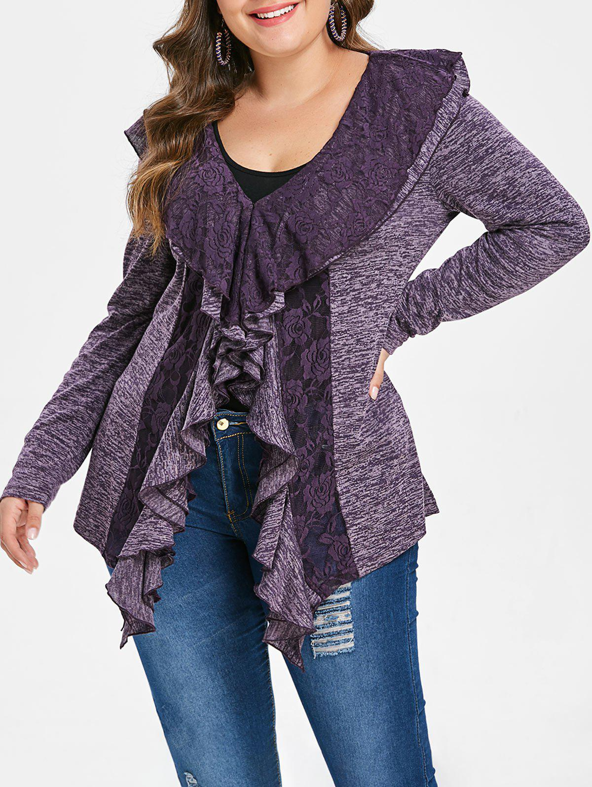 142124d388 Outfits Plus Size Ruffle Marled V Neck T-shirt