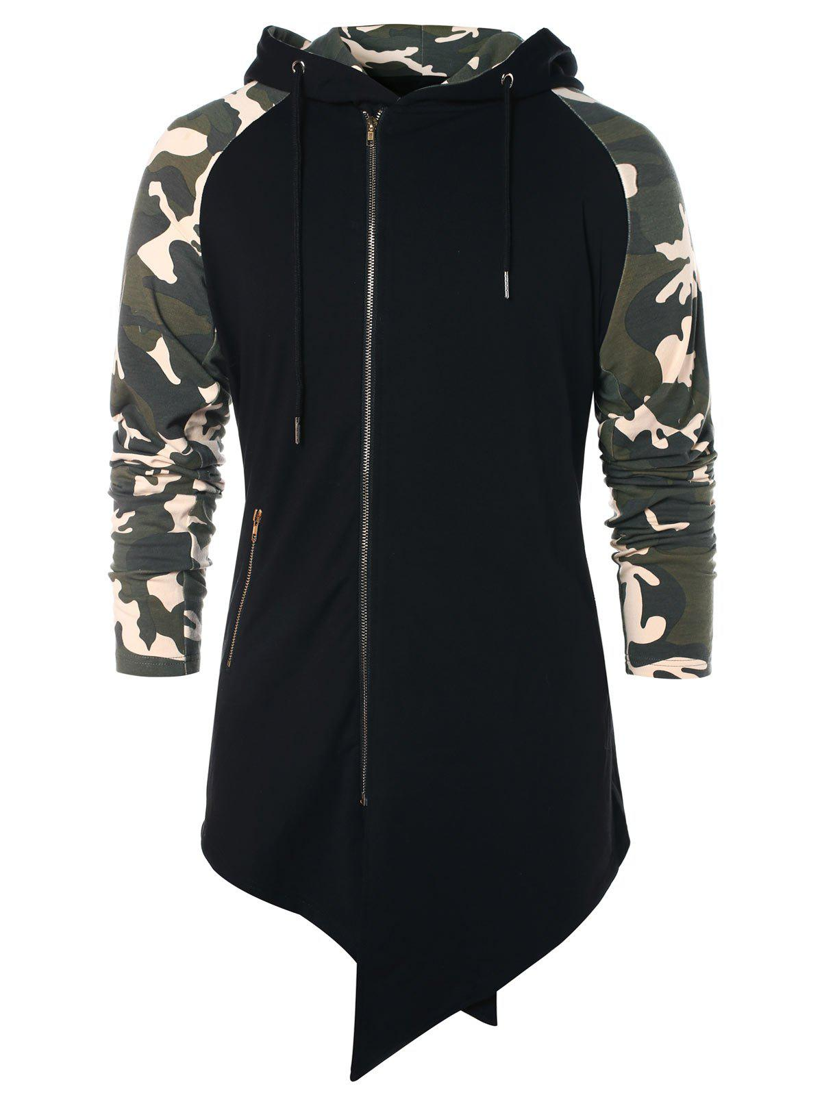 Sale Asymmetric Camo Panel Zip Up Hoodie