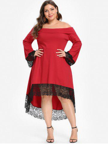 Plus Size Off Shoulder Lace Insert Dress