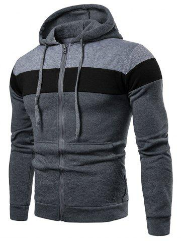 Fleece Lined Zip Up Color Block Pocket Hoodie