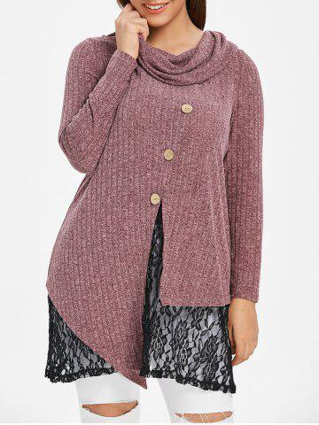 Plus Size Lace Panel Space Dyed Knitwear - RED WINE - L