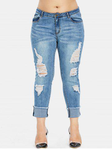 79f2c8765 Plus Size Destroyed Cuffed Jeans
