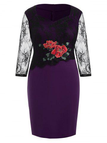 Plus Size Slit Embroidered Bodycon Dress with Lace
