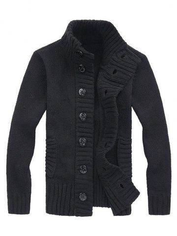 Stand Collar Button Fly Knitted Cardigan, Black