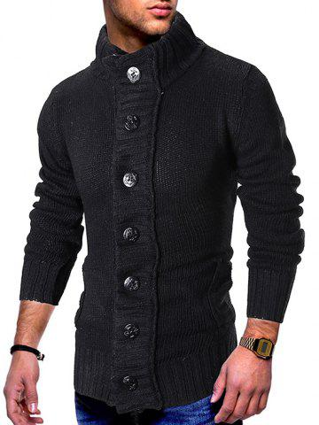 Stand Collar Button Fly Knitted Cardigan