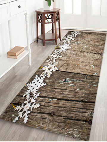 Christmas Snowflake Wooden Printed Decorative Floor Mat - WOOD - W16 X L47 INCH