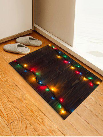 Wooden Christmas Light Printed Decorative Floor Mat - BLACK - W16 X L24 INCH