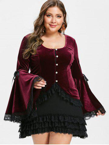 Plus Size Halloween Costume Flare Sleeves Velvet Top With Cami Dress