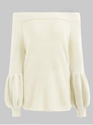 Lantern Sleeve Off Shoulder Knit Sweater